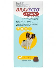 Bravecto Chews 1Month for Dogs Very Small 2-4.5kg 1Pk
