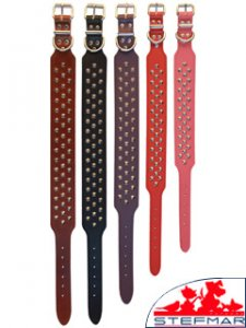 Beaupets Staffy Collar Studded 60Cm Red