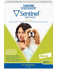 Sentinel Spectrum Chews Dog 4-11Kg Small Green 6Pack
