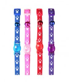 Beaupets Cat Collar Adjustable Paws Red
