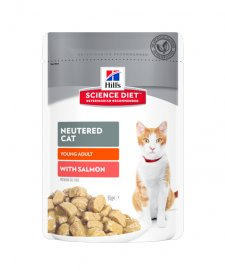 Hills Science Diet Cat Wet Pouches 12X85G Adult Neutered Salmon