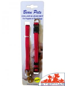 Beaupets Puppy Collar & Lead Set Red