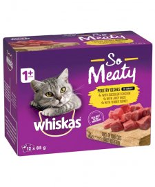 Whiskas 12x85g Ohso Meaty Poultry Dishes (Chicken Duck Turkey)