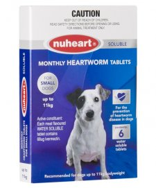 Nuheart Heartworm Tablets for Dogs 0-11kg Blue 6Pack