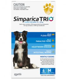 Zoetis Simparica Trio 6Pack Medium 10.1-20kg