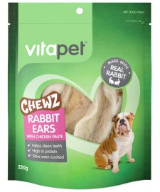 Vitapet Dog Treats Rabbit Ears with Chicken 220g