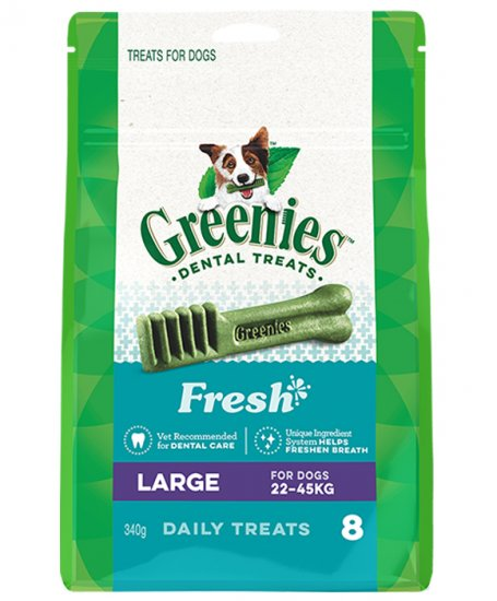 Greenies Canine Snacks Treat-Pak Large Mint 340g 8pack - Click Image to Close