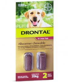 Bay-O-Pet Drontal Allwormer for Dogs 35kg Chews 2Pack