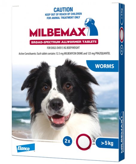 Milbemax Allwormer For Dogs Over 5kg 2 Tablets - Click Image to Close