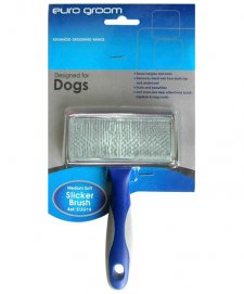 Euro Groom Flat Slicker Brush Soft Pin Medium