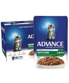 Advance Cat Wet 12x85g Kitten Gravy Lamb
