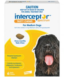 Interceptor Chews Dog 11-22Kg Medium Yellow 6 Pack