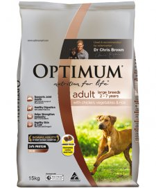 Optimum Dog Adult Large Breed Chicken Vegetables Rice 15Kg