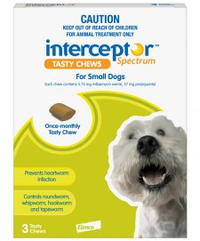 Interceptor Chews Dog 4-11Kg Small Green 3 Pack